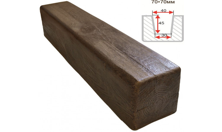 Декоративная балка Decorawood Фасад 70x70 Классика Темный Дуб