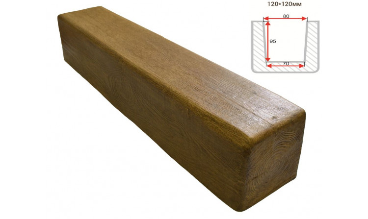 Декоративная балка Decorawood Фасад 120x120 Классика Дуб светлый