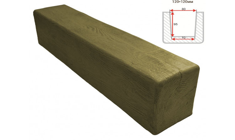Декоративная балка Decorawood Фасад 120x120 Классика Болотный Дуб