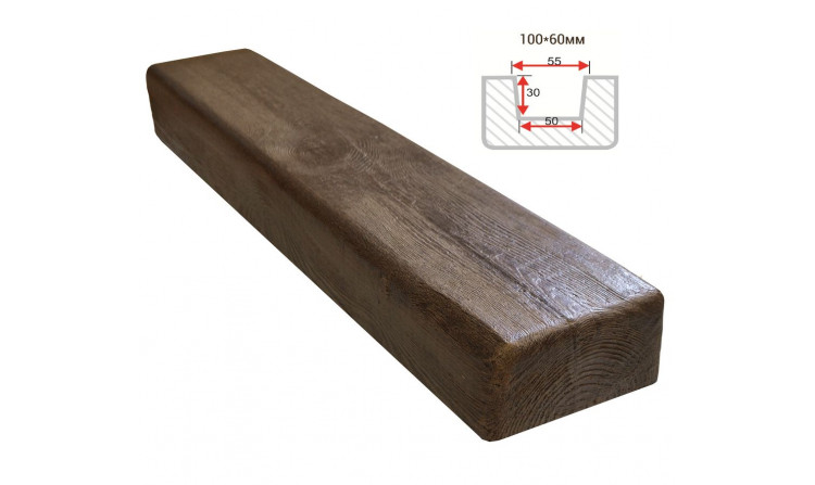 Декоративная балка Decorawood Фасад 100x60 Классика Темный Дуб
