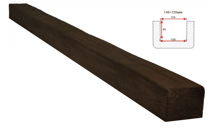 Декоративная балка Decorawood Фасад 145x120 Классика Темный Дуб