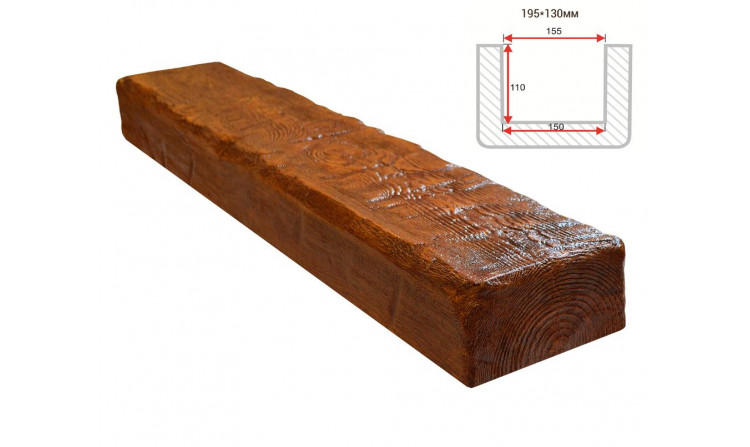 Декоративная балка Decorawood Фасад 195x130 Рустик Орех