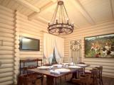 Люстры под старину в бревенчатом подмосковном доме