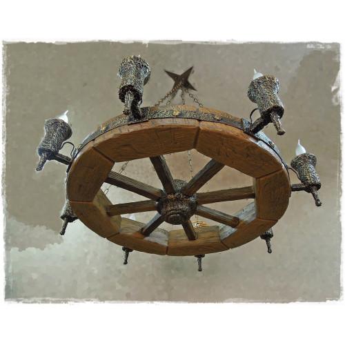 "Люстра ""Колесо"" с лампами диаметр 800 мм."